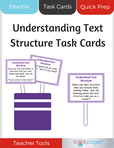 Understanding Text Structure Task Cards Cover