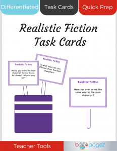 Realistic Fiction Task Cards Cover